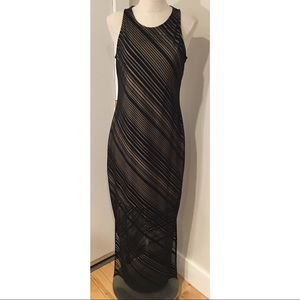 Elegant black fitted cocktail formal maxi dress
